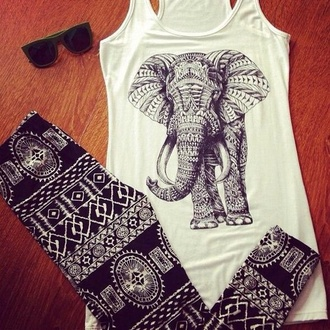 leggings black and white t-shirt elephant aztec leggings
