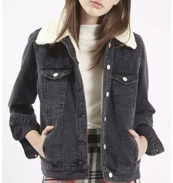 Black Lapel Fluffy Lining Denim Coat