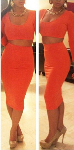 midi skirt tangerine hight waisted skirt skirt & top skirt set orange matching skirt and top set