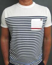 t-shirt,shirt,nautical,navy,stripes,white,sailor,mens t-shirt,pocket t-shirt,fila