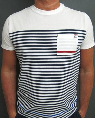 t-shirt shirt nautical navy stripes white sailor mens t-shirt pocket t-shirt fila