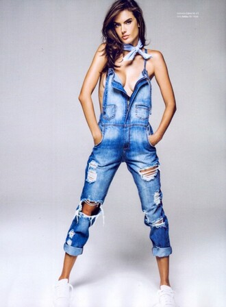 jeans overalls ripped jeans alessandra ambrosio jumpsuit editorial denim sneakers