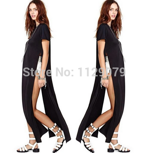 2014 HOT new summer black white POP OF JUNK GYPSY TEE LONG TSHIRT OPEN ON THE SIDES CATTON LONG CASUAL GIRL DRESS OM002-in Dresses from Apparel & Accessories on Aliexpress.com | Alibaba Group