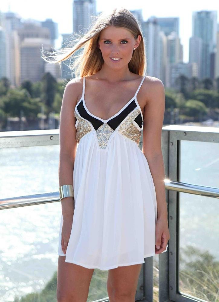 White & Black Sequin Embellished Sleeveless Dress