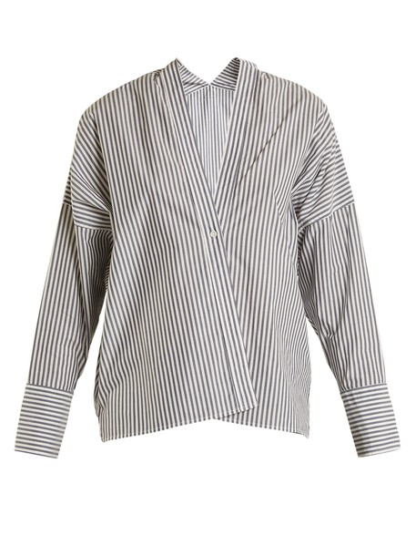 Nili Lotan shirt striped shirt white blue top
