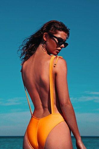 swimwear cheeky coverage bottom high waist design robb and lulu one piece swimsuit orange adjustables straps
