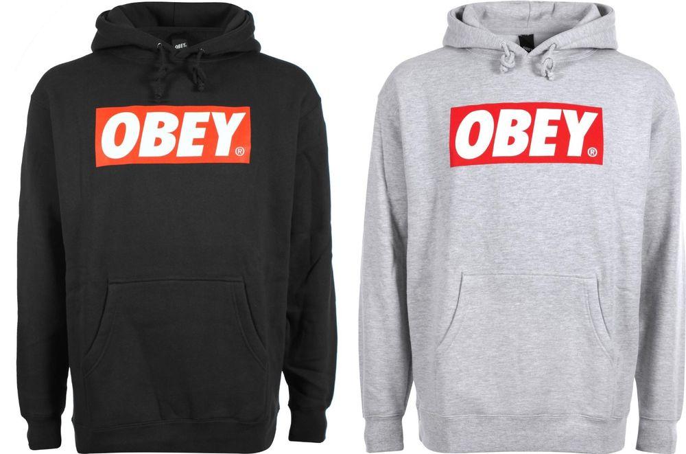 Obey Hoodie Black Grey M L XL Hip Hop Sweater Hoodie Rap Snapback Style : eBay