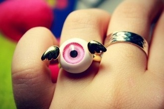 jewels eyeball ring wings pastel goth