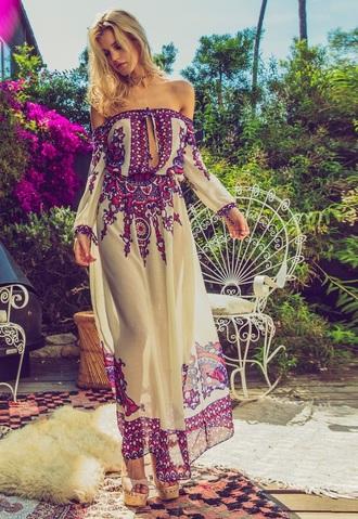 dress soah swimwear designer dress maxi dress print purple pink cream off the shoulder long sleeves