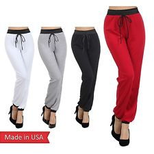 Cotton Blend Faux Leather Waistband Drawstring Jogger Jogging Pants Bottom USA