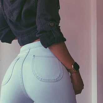 jeans pants high waisted denim any color t-shirt top
