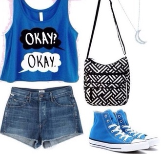 t-shirt converse moon necklace purse black and white denim shorts book the fault in our stars outfit movie bag shorts shoes