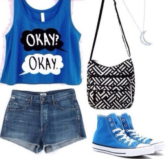 t-shirt movie converse moon necklace purse black and white denim shorts book okay? okay. outfit bag