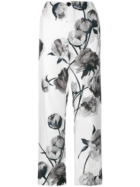 F.R.S For Restless Sleepers - floral print trousers - women - Silk - M, White, Silk