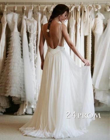 Custom Made A line Chiffon Backless Lace Prom Dresses, Wedding Dresses - 24prom