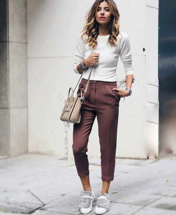 pants, brown pants, tumblr, capri pants, cropped pants ...