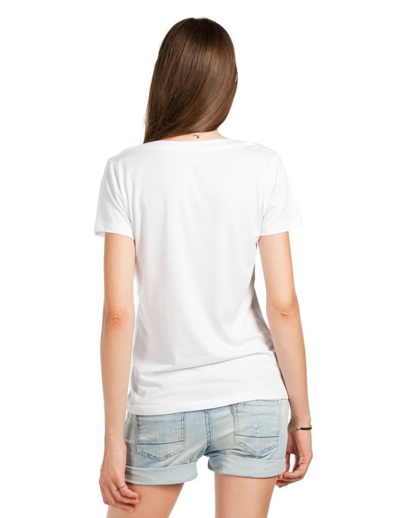 Bayan Derin V Yaka Beyaz Basic Tişört