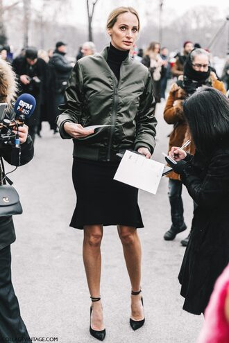 jacket tumblr green bomber jacket bomber jacket khaki bomber jacket army green jacket top black top turtleneck black turtleneck top skirt black skirt pumps pointed toe pumps high heel pumps black heels fashion week 2017 streetstyle