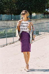 vanessa jackman,blogger,jacket,white t-shirt,graphic tee,jacquard,purple,pencil skirt