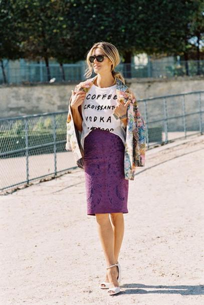 vanessa jackman blogger jacket white t-shirt graphic tee jacquard purple pencil skirt