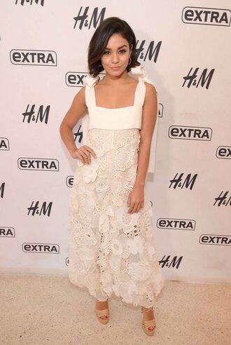 dress maxi dress sandals vanessa hudgens white white dress lace dress