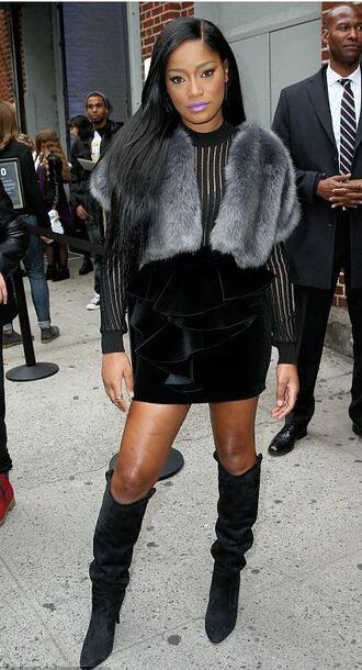 skirt top boots keke palmer fur fall outfits