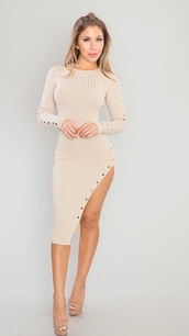 dress,knitted dress,nude,nude dress,long sleeves,long sleeve dress,bodycon,bodycon dress,slit dress,party dress,sexy party dresses,sexy,sexy dress,party outfits,sexy outfit,spring dress,spring outfits,fall outfits,fall dress,winter dress,winter outfits,classy dress,elegant dress,cocktail dress,cute dress,girly dress,date outfit,birthday dress,clubwear,club dress,graduation dress,homecoming,homecoming dress,wedding clothes,wedding guest,engagement party dress,romantic dress,romantic summer dress,dope