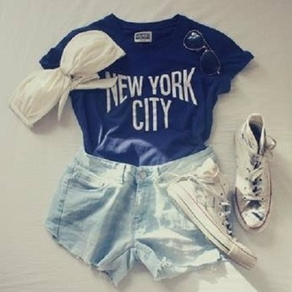 shirt new york city tank top black bridgit mendler bra sunglasses converse shorts