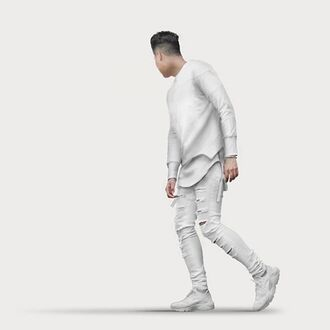jeans maniere de voir all white everything urban menswear mens ripped jeans