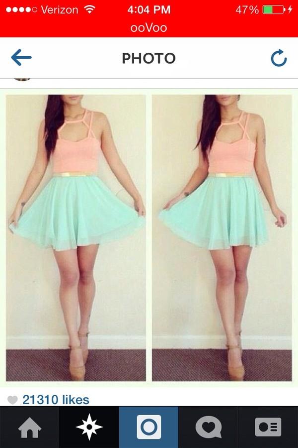 skirt blue pink top shoes tank top