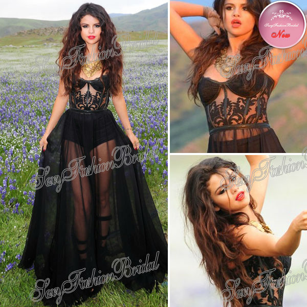 2013 Selena Gomez Dress Sexy Sweetheart See Through A line Floor length Black Chiffon Real Picture Celebrity Dresses-in Celebrity-Inspired Dresses from Apparel & Accessories on Aliexpress.com