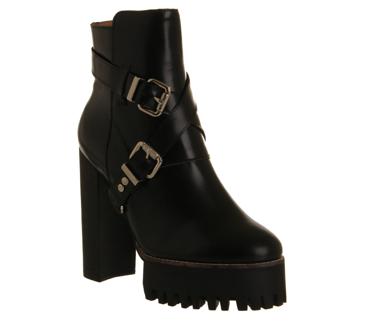 Jeffrey Campbell Mercer Dp Strap Boot Black Leather - Ankle Boots