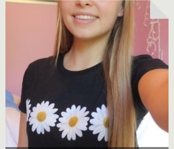 t-shirt flower shirt daisy daisy shirt black