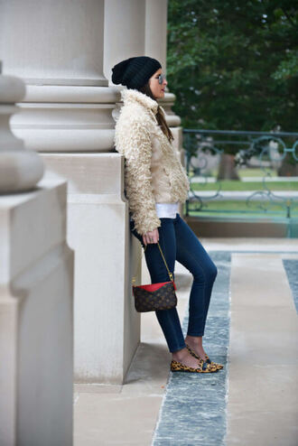 to be bright blogger jacket jeans shoes bag jewels sweater hat fuzzy jacket louis vuitton bag loafers skinny jeans