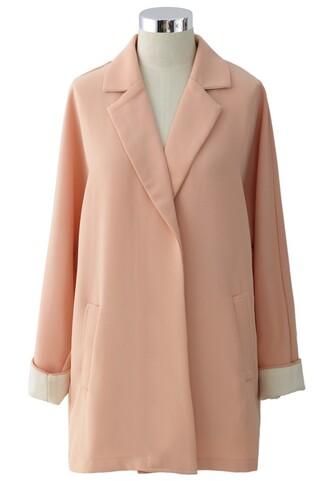 chicwish peach passionate coat