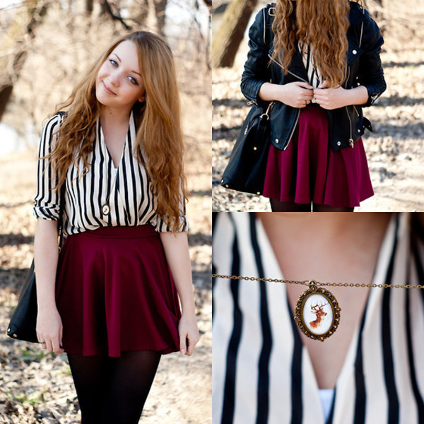 blouse zaful fall outfits skater skirt burgundy black leather jacket lookbook velvet red jacket black jacket college outfit outfit idea girly