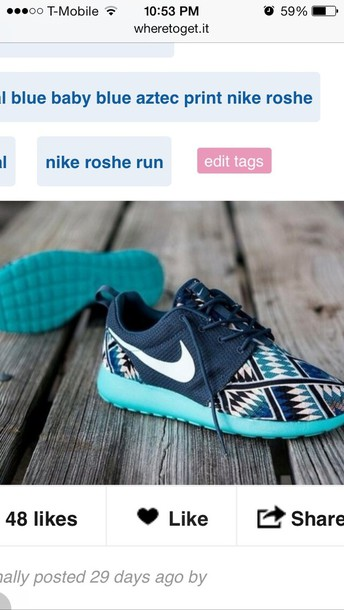 premium selection 55283 8518b royal blue baby blue aztec print nike roshe