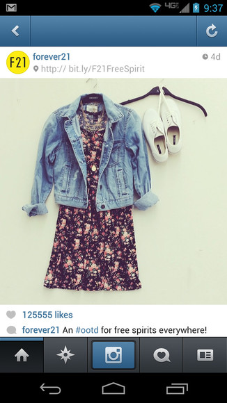 white shoes dress floral dress jeans jacket