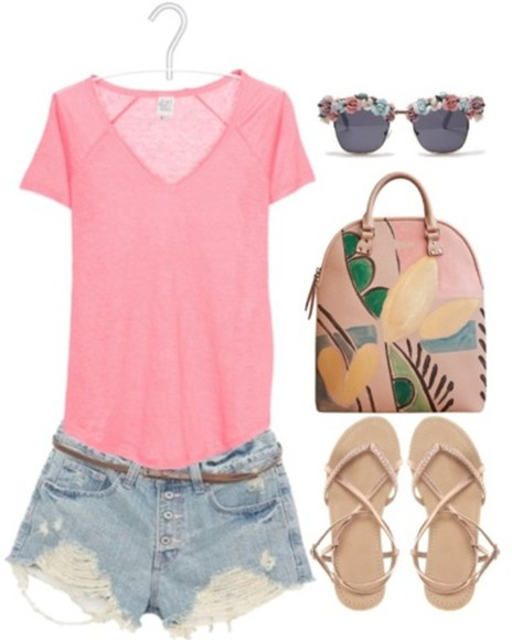 sandals summer shirt bag shorts sunglasses pink spring