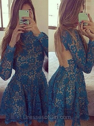 dress sheath column scoop neck lace short mini ruffle prom dress