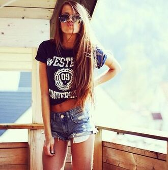 blouse blue t-shirt black sunglasses cut off shorts shorts long hair t-shirt denim