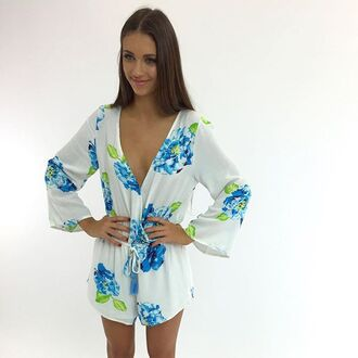 romper floral romper floral white floral long sleeve playsuit peppermayo
