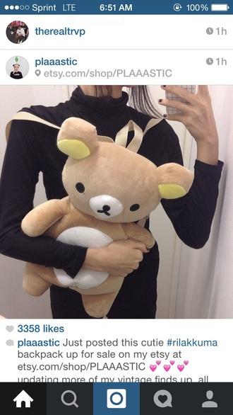 backpack bag cute rilakkuma bookbags stuffed animal