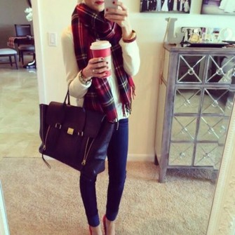 scarf bag shoes red checkered autmn scarf red