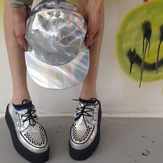 shoes grunge creepers holographic soft grunge grey punk rock hipster hat