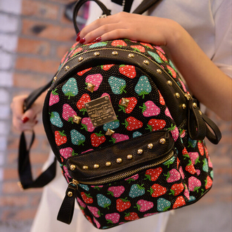 bag fashion style cute backpack strawberry studded back to school kawaii trendy stylish black red green