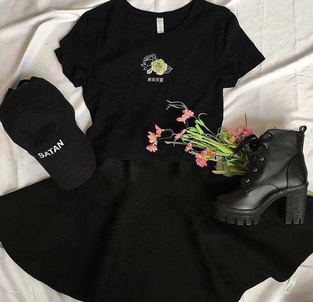shirt black t-shirt grunge aesthetic