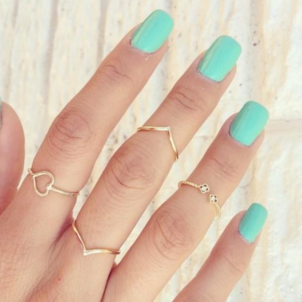 jewels, mint nailpolish, jewelry, ring, gold ring, pretty, mint ...