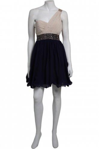 Cream & navy one shoulder dress