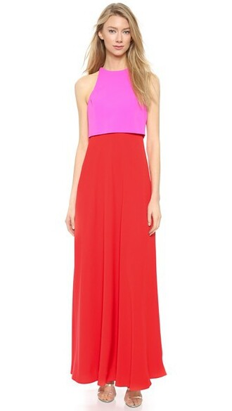 gown pink bright red dress